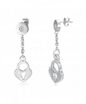 Stainless Steel Heart Padlock Earrings