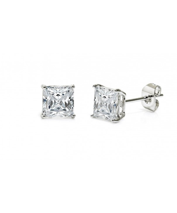 Cubic Zirconia Princess Earrings White