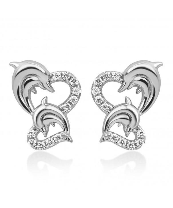 Sterling Silver Dolphin Symbol Earrings