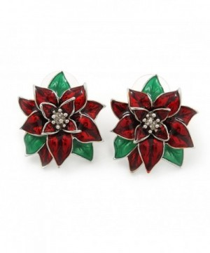 Christmas Poinsettia Holiday Earrings Rhodium
