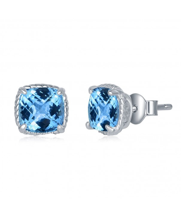 Sterling Genuine Fastened Birthstone Earrings