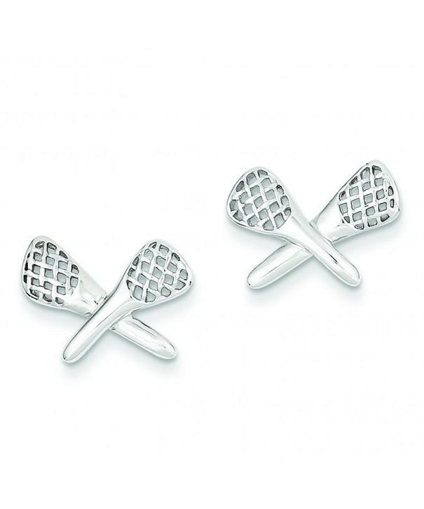 Shop4Silver QE4935 Sterling Lacrosse Earrings