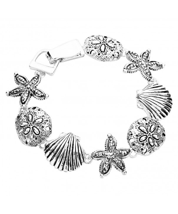 Silver Tone Bracelet Magnetic Clasp Inches