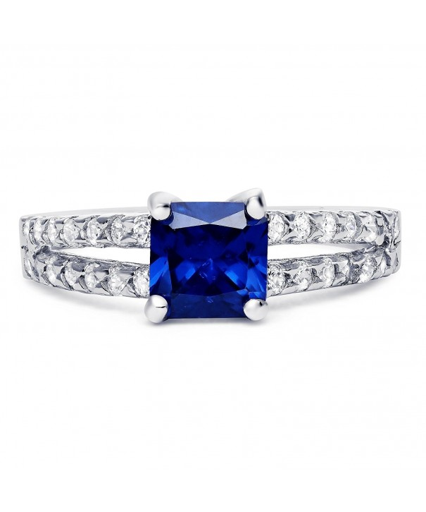 Sterling Silver Simulated Sapphire Zirconia