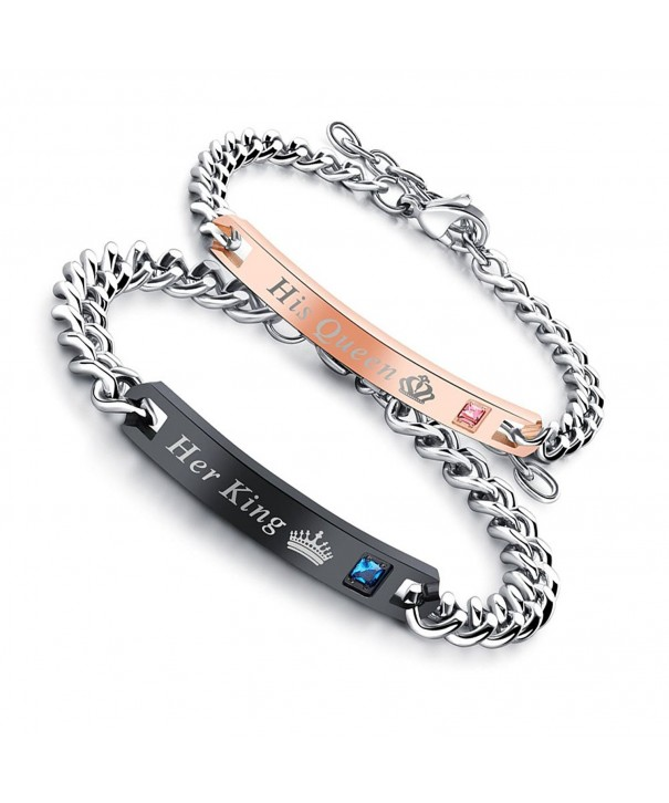Engraving Bracelet Stainless Couple Zircon