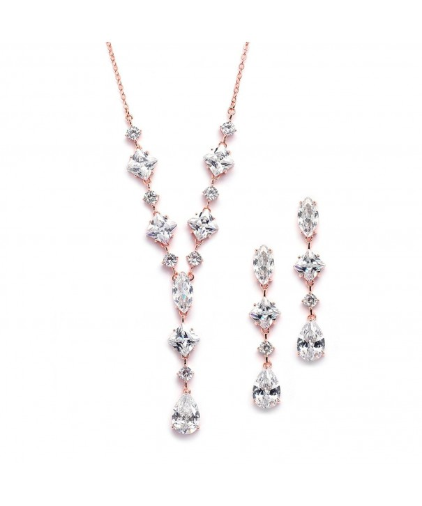 Rose Gold Plated Cubic Zirconia Wedding Necklace Earrings Set