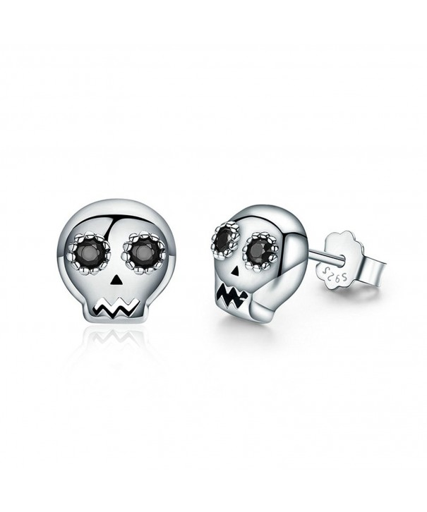 Kiss Skull Sterling Silver Earrings