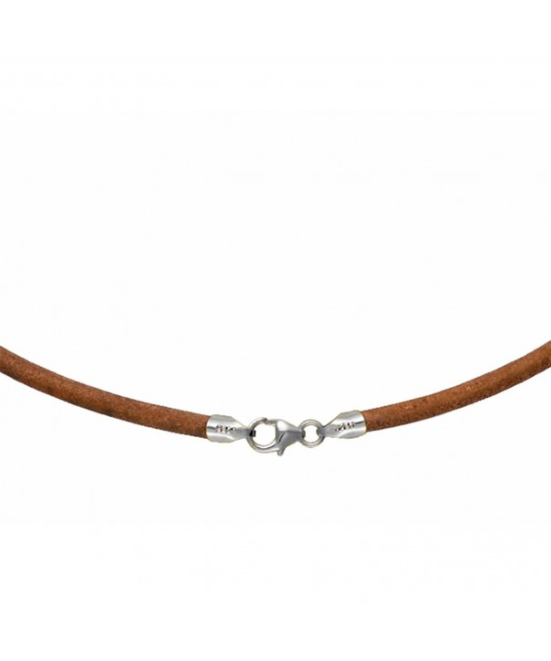 Natural Leather Necklace Choker Sterling
