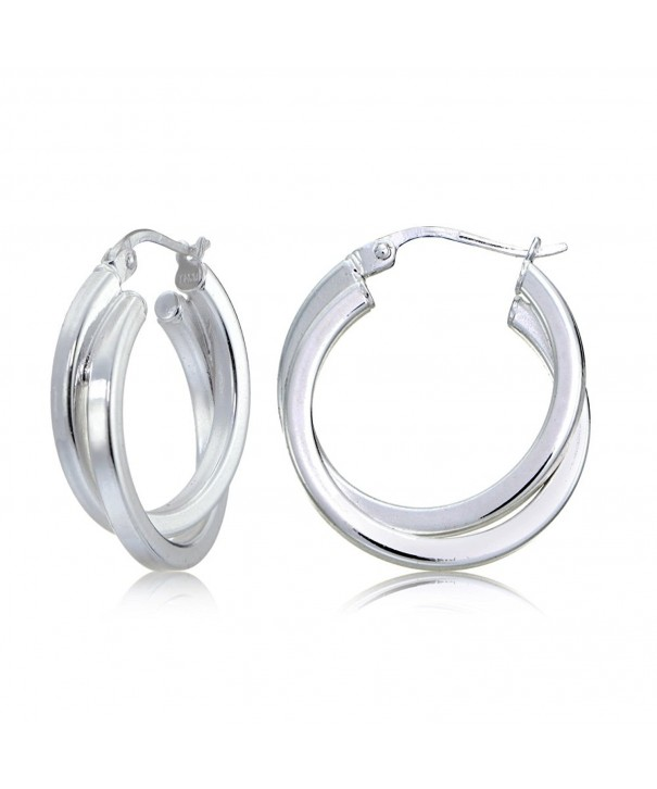 Sterling Silver Square Tube Twisted Earrings