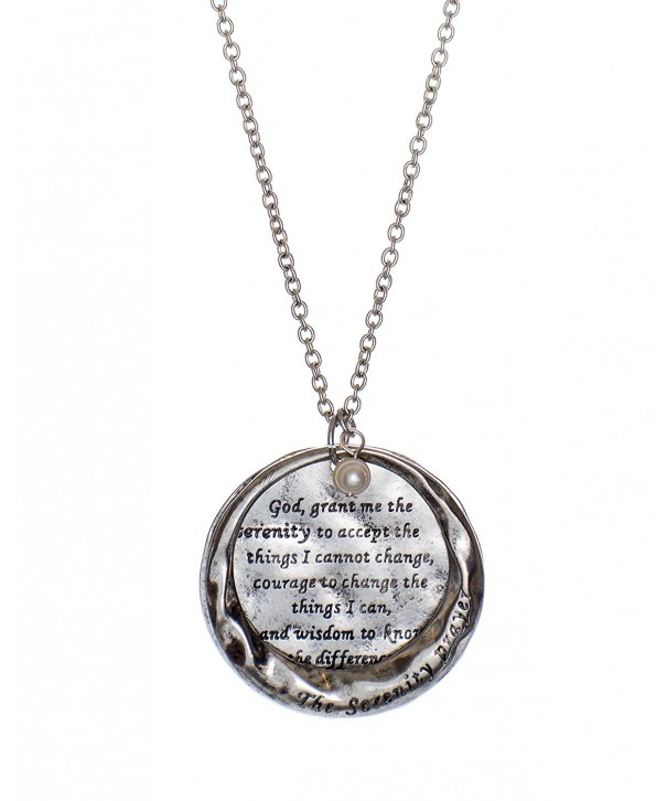 Serenity Stamped Hammered Necklace Silver tone