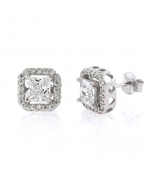 Sterling Floating Princess Zirconia Earrings
