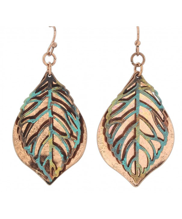 Rain Copper Layered Teardrop Earrings