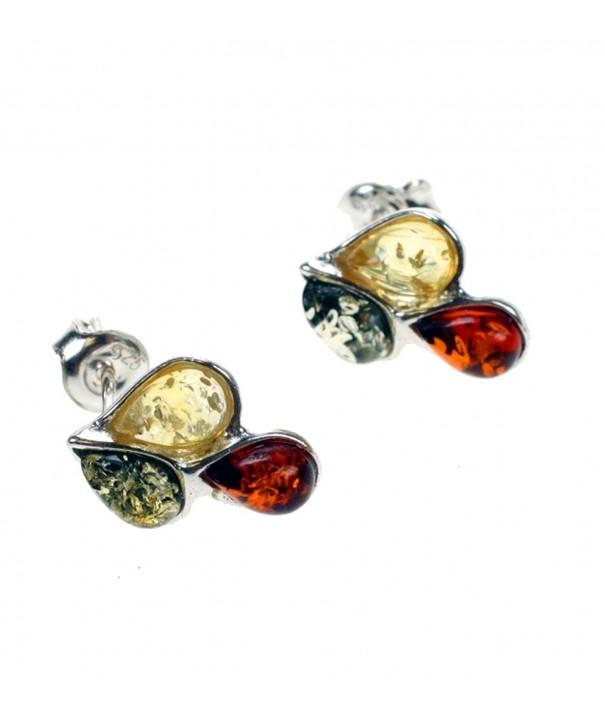 Sterling Silver Multicolor Cognac Earrings