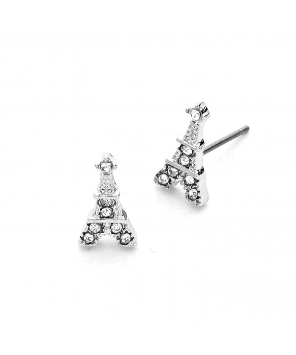 Silver Bejeweled Eiffel Tower Earrings