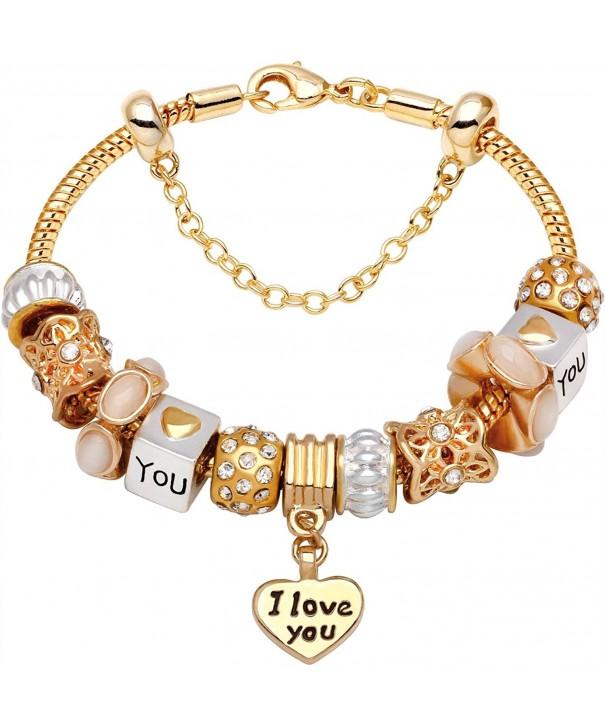 Heart Gold Tone Bead Charm Bracelet