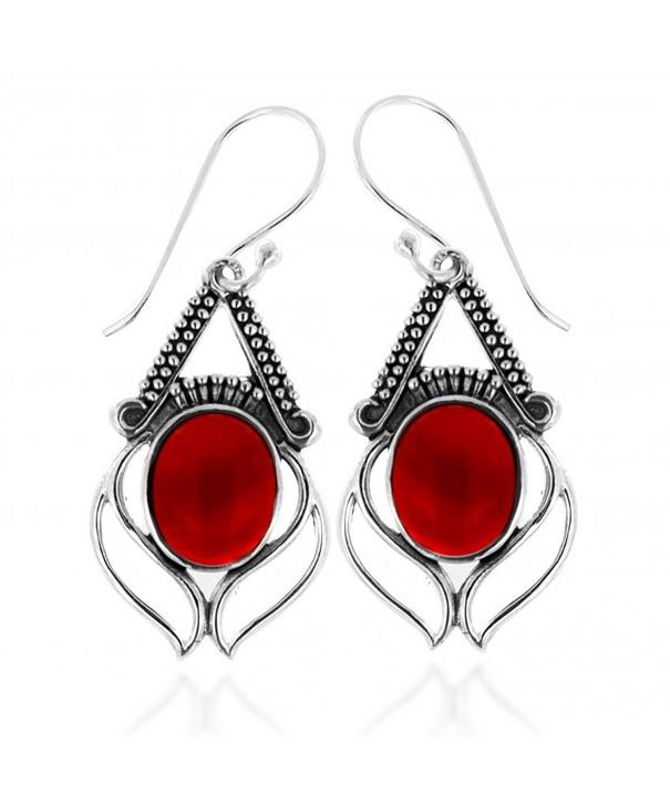Oxidized Sterling Carnelian Gemstone Earrings