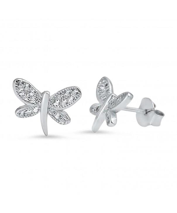 Dragonfly Zirconia Sterling Silver Earrings