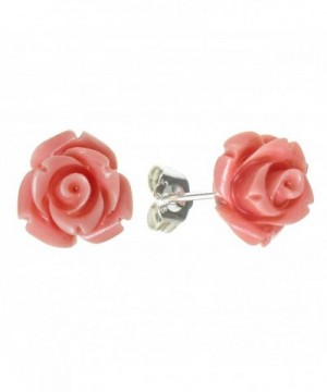 Sterling Silver Simulated Coral Earrings