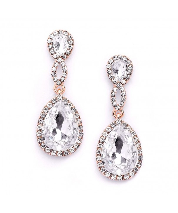 Mariell Rose Crystal Earrings Teardrops