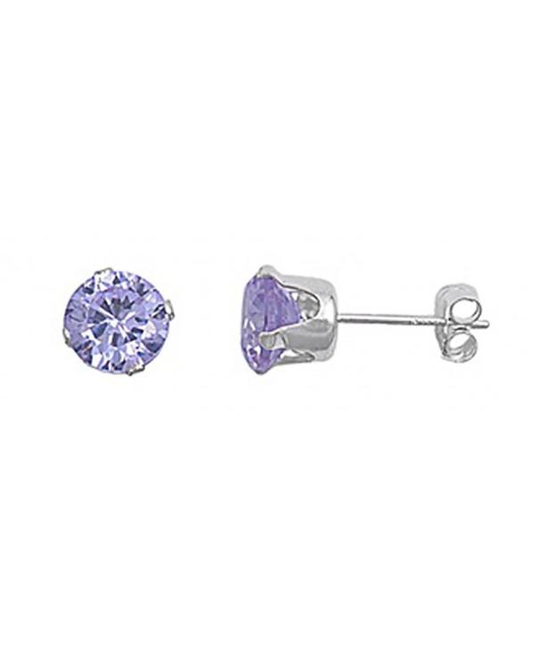 Sterling Silver Purple Zirconia Earrings