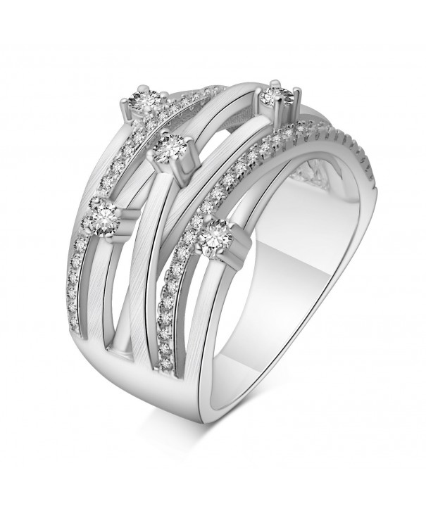 Adan Banfi Rhodium Plated Solitaire Statement