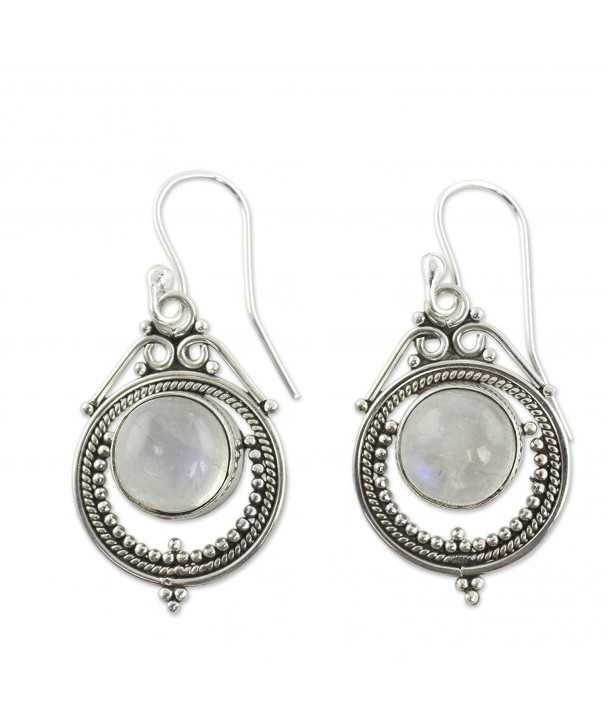 NOVICA Moonstone Rainbow Sterling Earrings