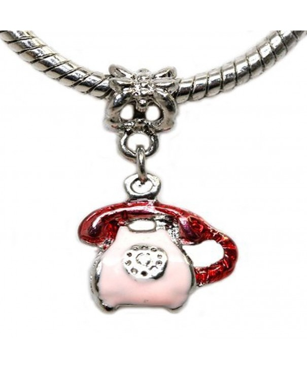Enamel Telephone Dangle Charm Bracelet