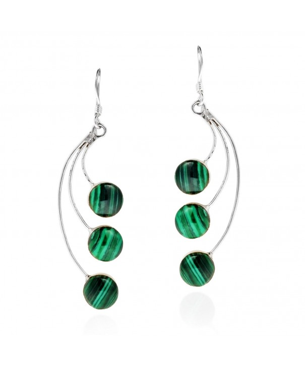 Dandelion Floating Malachite Sterling Earrings