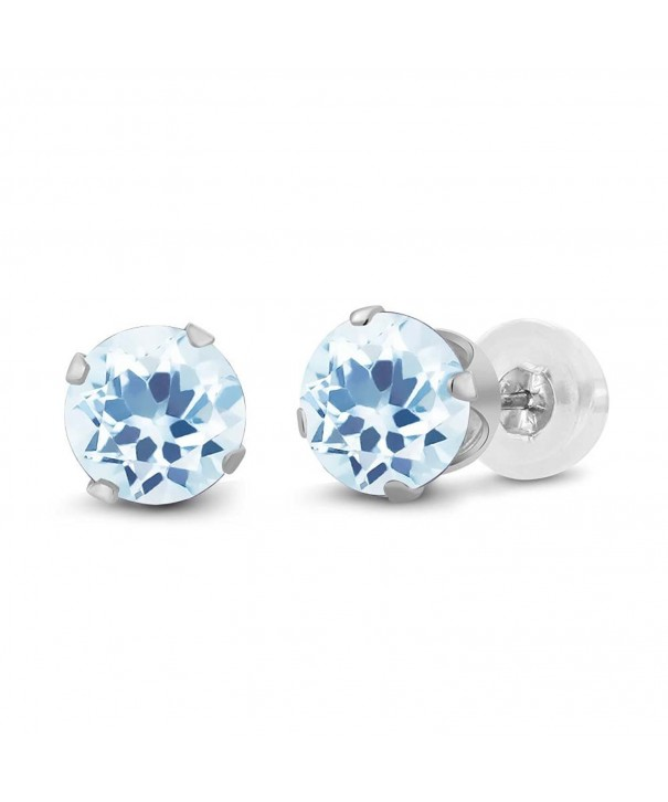 Round Topaz Gemstone Birthstone Earrings
