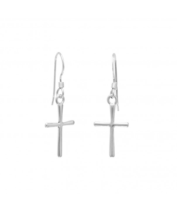 Sterling Silver Cross French Earrings
