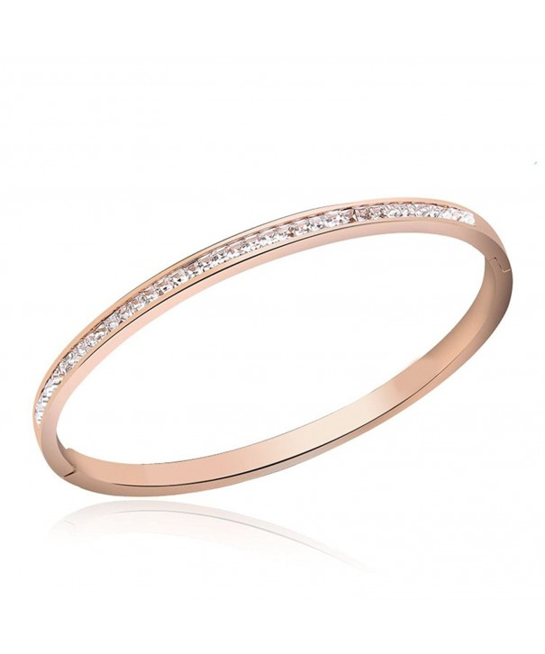 Diamond Bangle Bracelet Stainless Plated