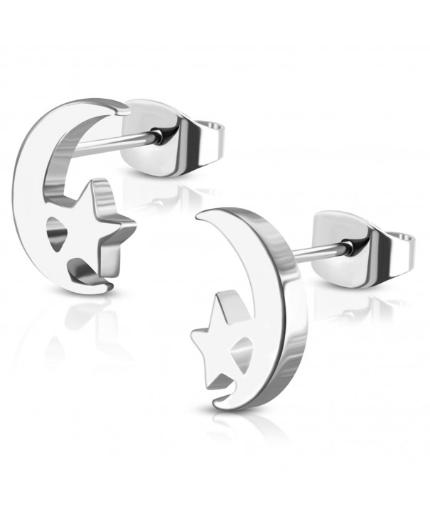 Stainless Steel Tiny Crescent Earrings
