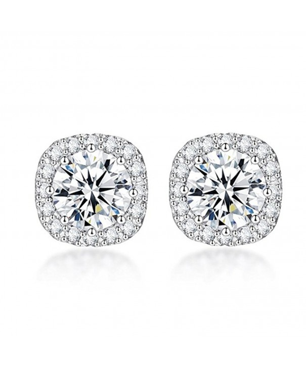 Sterling Silver Zirconia Cushion Earrings