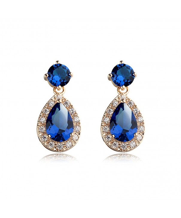 Teardrop Sapphire Swarovski Elements Earrings