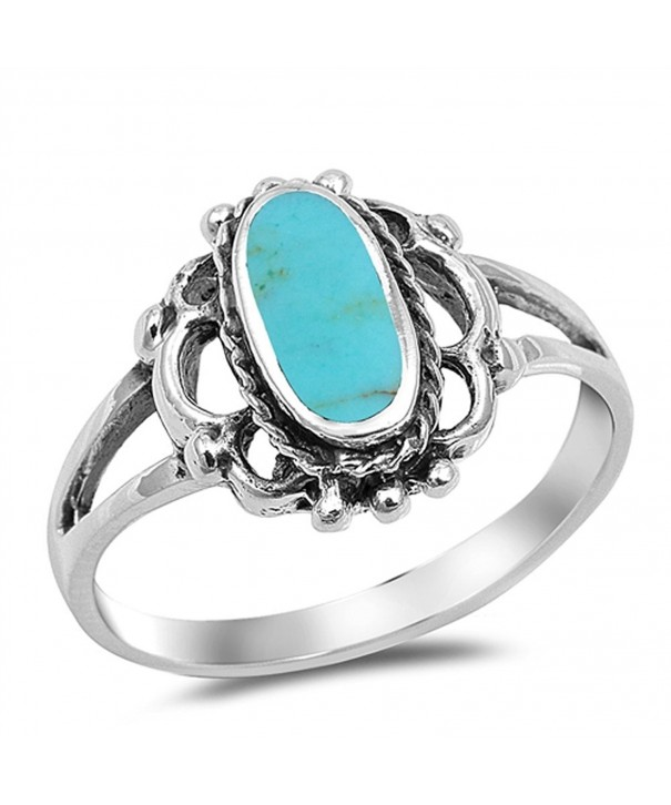 Filigree Simulated Turquoise Silver RNG17528 7
