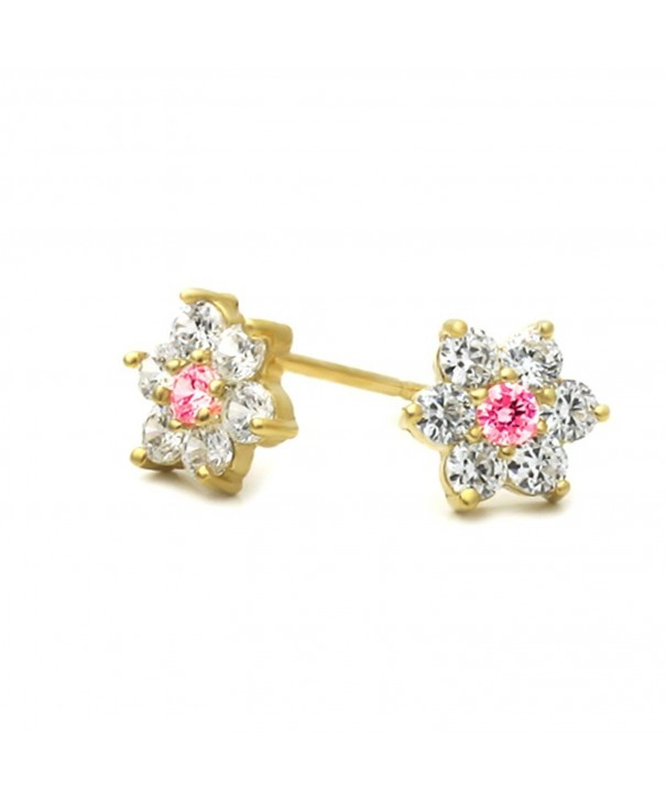 Plated Cluster Flower Screwback Earrings