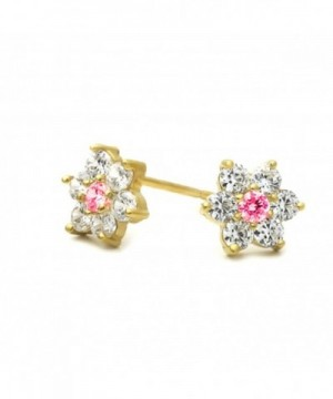 Plated Cluster Flower Screwback Earrings