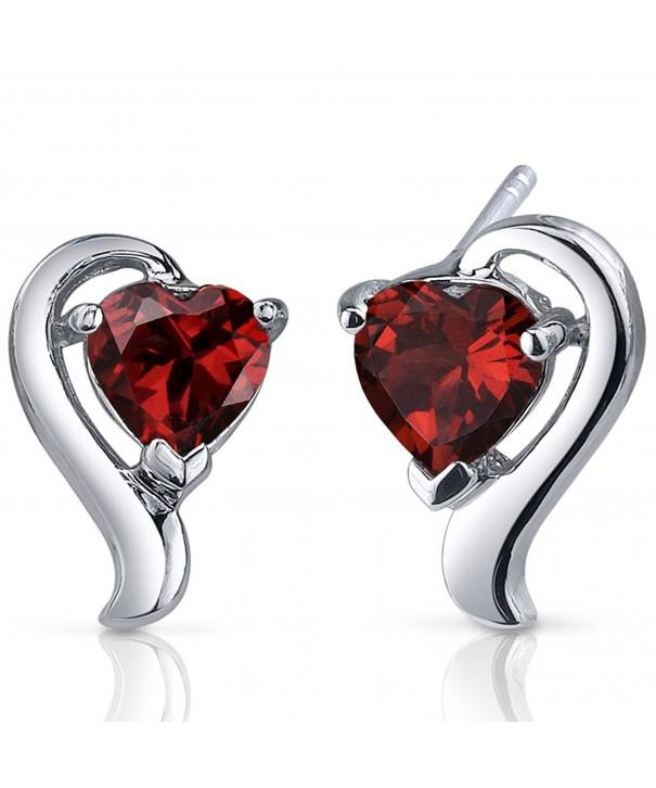 Garnet Earrings Sterling Silver Carats