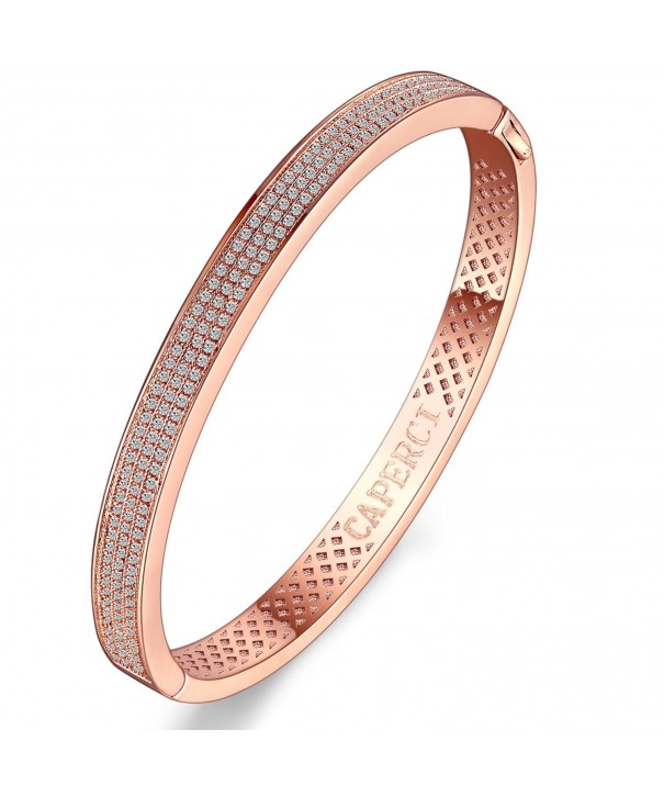 Caperci Zirconia Plated Bangle Bracelet