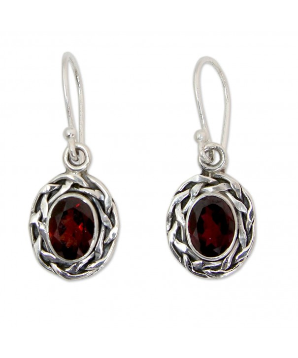 NOVICA Sterling Silver Garnet Earrings