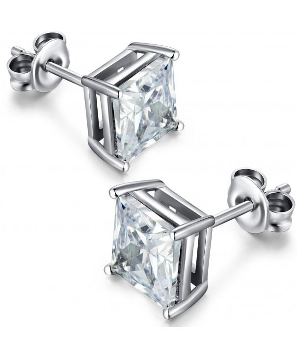Hypoallergenic Earrings Sterling Princess Zirconia