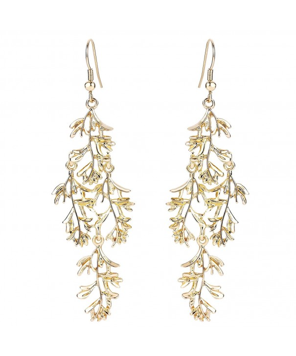 BriLove Wedding Chandelier Earrings Gold Tone