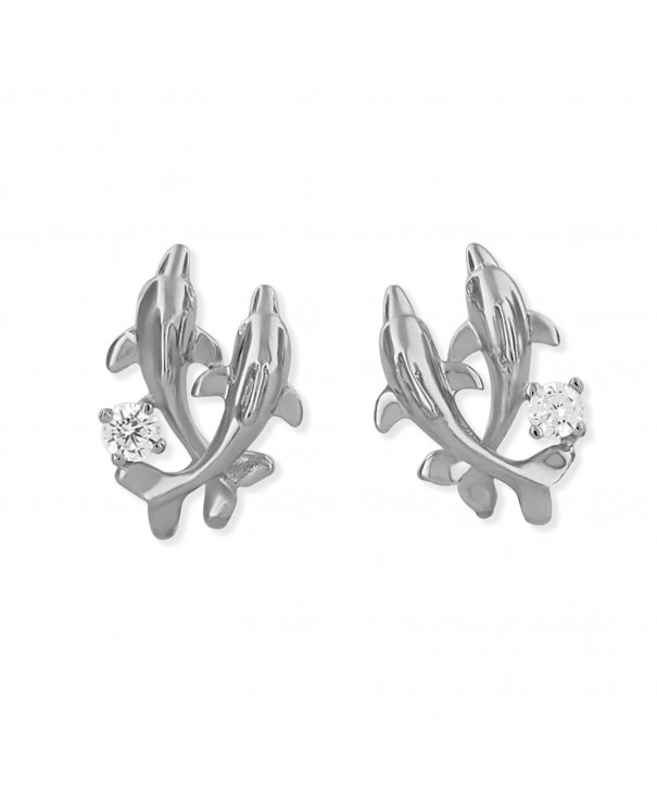 Rhodium Sterling Silver Dolphin Earrings