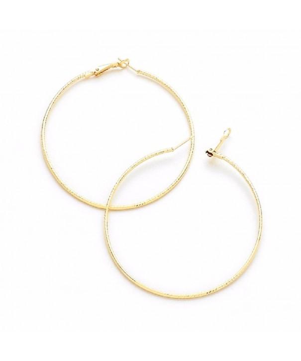 Gold Plated Hoop Textured Earrings