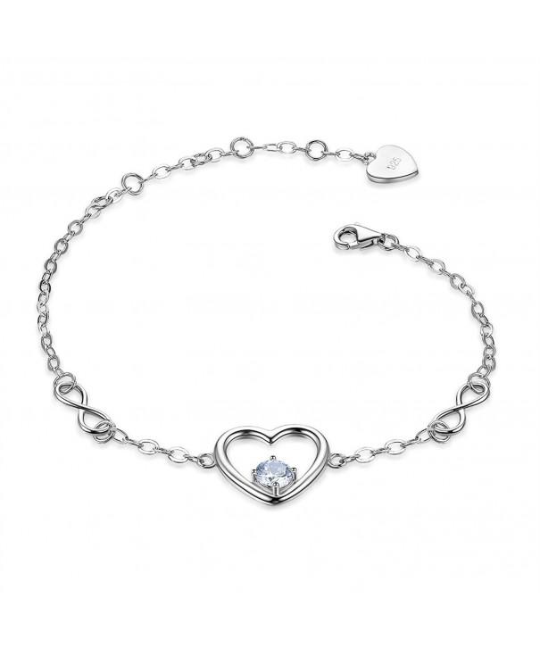 Sterling Infinity Zirconia Adjustable Bracelet