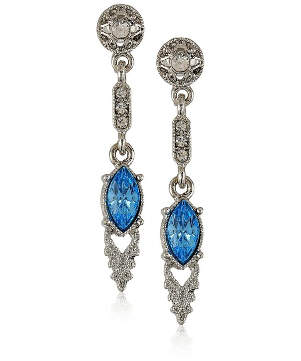 Downton Abbey Silver Tone Aquamarine Earrings