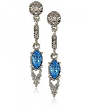 Downton Abbey Silver Tone Aquamarine Earrings