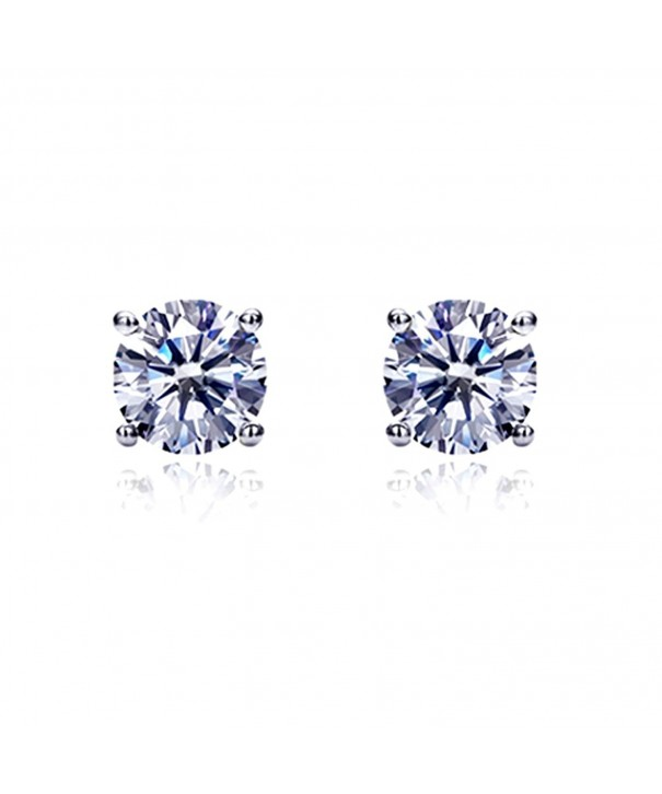 Zirconia Basket Setting Solitaire Earrings