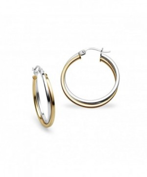 Sterling Flashed Two Tone Square Tube Earrings