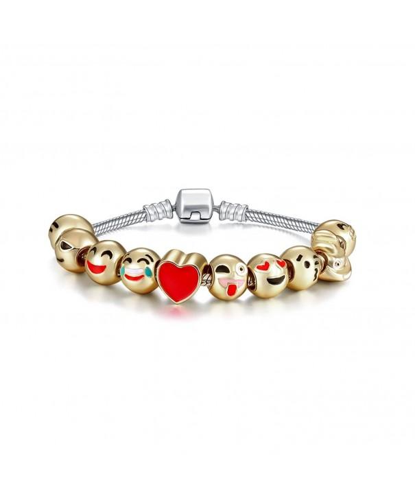 Eccosa Plated Enamel Charms Bracelet